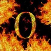 Digit number 0 zero. Fire alphabet letter cracked isolated on black — Stock fotografie