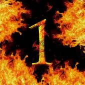 Digit number 1 one. Fire alphabet letter cracked isolated on black  — Stok fotoğraf