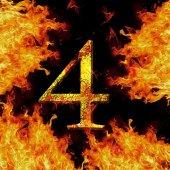 Digit number 4 four. Fire alphabet letter cracked isolated on black   — Stock fotografie