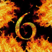 Digit number 6 six. Fire alphabet letter cracked isolated on black — Stok fotoğraf