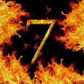 Digit number 7 seven. Fire alphabet letter cracked isolated on black — Stock Photo