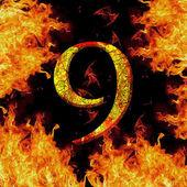 Číslice číslo 9 devět. protipožární abeceda dopisu popraskané izolované na černé — Stock fotografie