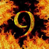 Digit number 9 nine. Fire alphabet letter cracked isolated on black — Stock fotografie