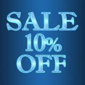 Sale 10 ten percent off neon isolated on blue background — Stock Photo