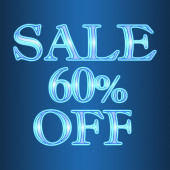 Sale 60 sixty percent off neon isolated on blue background — Stock Photo