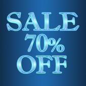 Sale 70 seventy percent off neon isolated on blue background — Stock Photo