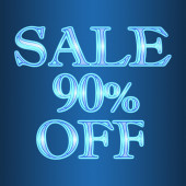 Sale 90 ninety percent off neon isolated on blue background — Stock Photo