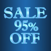 Sale 95 ninety five percent off neon isolated on blue background  — Stock Photo