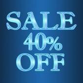 Sale 40 forty percent off neon isolated on blue background  — Stock Photo