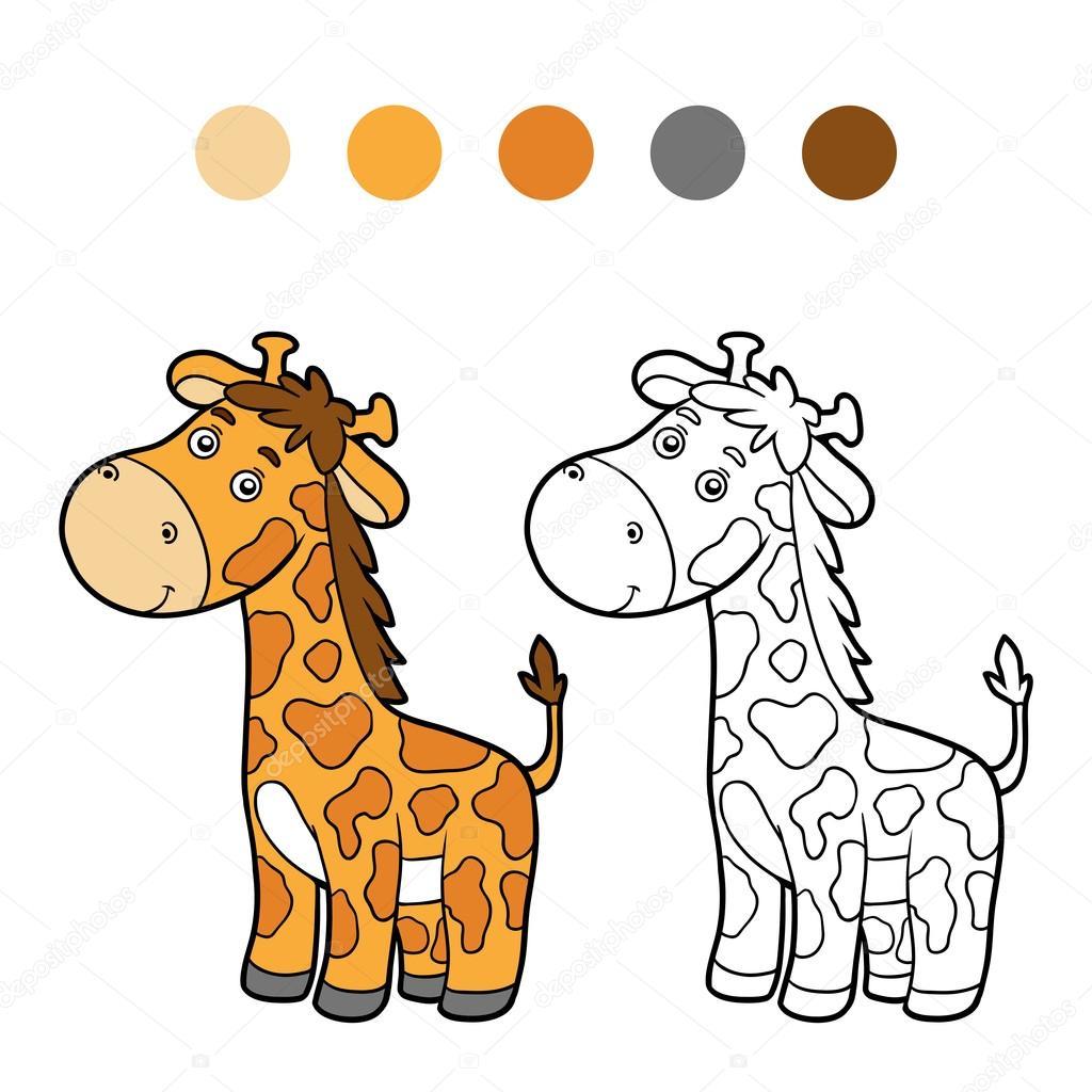 Coloring Book For Children Giraffe Vector By Ksenya Savva