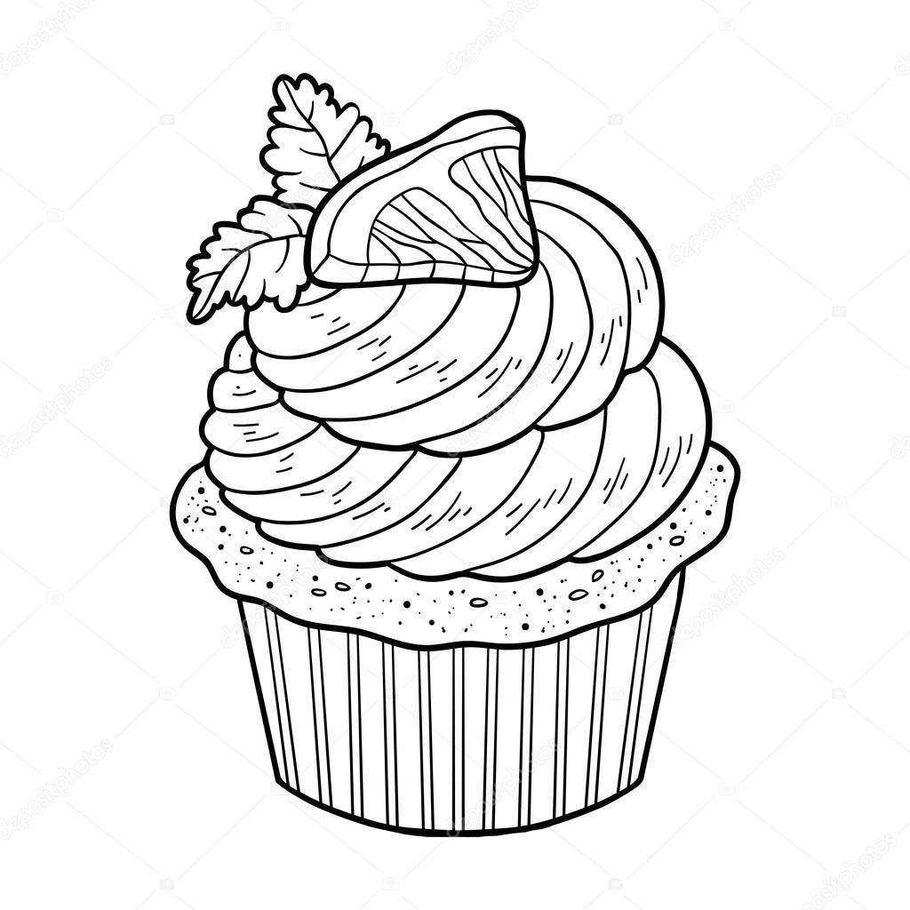 Kleurboek, vector cupcake met citroen — Stockvector ...
