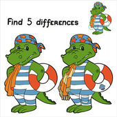 Find 5 differences (crocodile) — Stock Vector