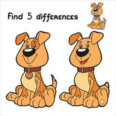 Find 5 differences (dog) — Stock Vector