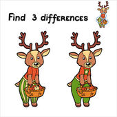 Find 3 differences (deer) — Stock Vector