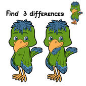 Find 3 differences (bird) — Stock Vector
