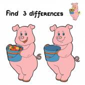 Find 3 differences (pig) — Stock Vector