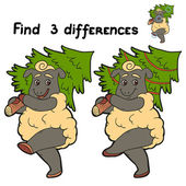 Find 3 differences (sheep) — Stock Vector
