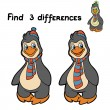 Find 3 differences (penguin) — Stock Vector