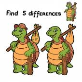 Find 5 differences (turtle) — Stock Vector