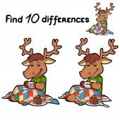 Find 10 differences (deer) — Stock Vector