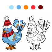 Книжка-раскраска (зимняя птица) — Cтоковый вектор