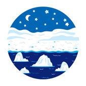 Circle locations, little landscape (winter polar night) — Stock Vector