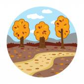 Circle locations, little landscape (autumn day in the woods) — Stock Vector
