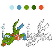 Coloring book (crocodile diver and sea star) — Stock Vector