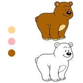 Coloring book (bear) — Stock Vector