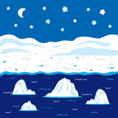 Vector winter landscape, polar night — Stock Vector
