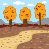 Vector autumn landscape, woodland scenery — Stock Vector