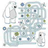 Maze game (polar bears) — Stock Vector