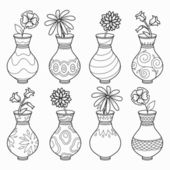 Coloring book (vases with flowers), vector colorless set — Stock Vector