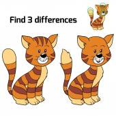 Find 3 differences (cat) — Stock Vector