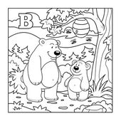 Coloring book (bears in the forest), colorless letter B — Stock Vector