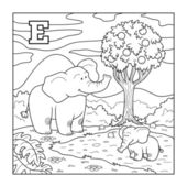 Coloring book (elephant), colorless alphabet for children: lette — Stock Vector