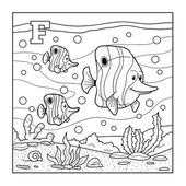 Coloring book (fish), colorless alphabet for children: letter F — Stock Vector