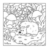 Coloring book (hedgehog), colorless illustration (letter H) — Stock Vector