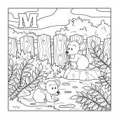Coloring book (mice), colorless alphabet for children: letter M — Stock Vector