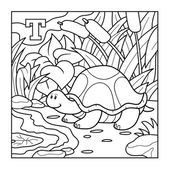 Coloring book (turtle), colorless alphabet for children: letter  — Stock Vector