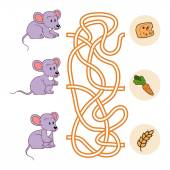 Maze game (mice and food) — Stock Vector