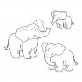Coloring book (elephants), colorless set — Stock Vector