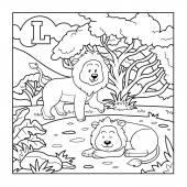 Coloring book (lion), colorless alphabet for children: letter L — Stock Vector
