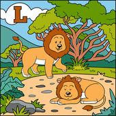 Color alphabet for children: letter L (lion) — Stock Vector