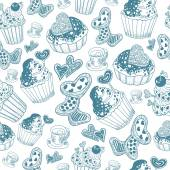 Valentine's Day Pattern with cupcake (blue) — Vetorial Stock
