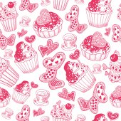 Valentine's Day Pattern with cupcake (pink) — Vetorial Stock