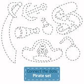 Connect the dots (pirate set) — Vector de stock