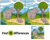 Find differences (elephant) — Stock Vector