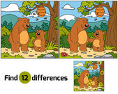 Find differences (bears family) — Stock Vector