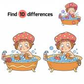 Find differences (little girl in the bathroom) — Stock Vector